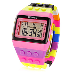 Frauenblock Backstein-Stil lcd digitale bunte Kunststoff-Band-Armbanduhr