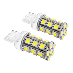 T20 5W 24x5060SMD 450LM 5500-6500K Cool White Light LED pære til bil (12V, 2stk)