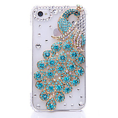Peafowl Pattern Metal Jewelry Back Case for iPhone 4/4S
