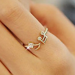 Band Rings Simulated Diamond Alloy Music Notes Love Silver Golden Jewelry Daily 1pc
