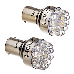 2 PC 1157 T25 BAY15D 2057 2W 19-LED 120-140LM ​​Luz de freno Luz 6000-6500K Blanco fresco LED cola de la parada del coche (12V)