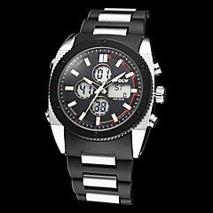 Estilo militar Aço Round Dial ABS banda relógio de pulso analógico-Digital Multi-funcional dos homens (cores sortidas)