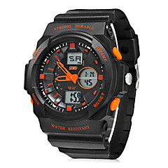 Men's Multi-Function Analog-Digital Round Dial Rubber Band Wrist Watch (Assorted Colors)