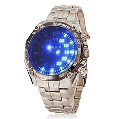 Herr Armbandsur Digital LED Rostfritt stål Band Silver Stämpla-
