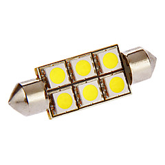 Festoon 1W 6x5050SMD 54LM 6000-7000K Cool White Light LED Bulb for Car (DC 12V)