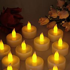 Warm Yellow Light Indoor LED Battery Operated Tea Lights (12 pcs)