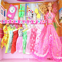 Barbie Doll Wardrobe With Nine Dresses And Accessories