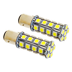 1157/BA15D 7W 30x5050SMD 580LM 5500-6500K Cool White Light LED pære for bil (12V, 2stk)