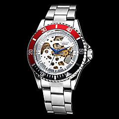 Férfi Karóra mechanikus Watch Automatikus önfelhúzós Üreges gravírozás Rozsdamentes acél Zenekar Ezüst Arany Fehér