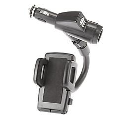 dupla usb carregador de tomada de charuto com 40mm a 90 milímetros de largura titular suporte ajustável para iphone 5 / 5s / 5c e outros (5v 1a / 2a)