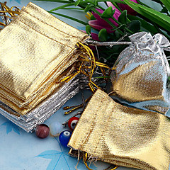 50pcs Gold & Silver 5x7cm Drawstring Organza Bag