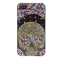 Special Design Bronze Cool Skull with Colorful Diamond Hard Case with Nail Adhesive for iPhone 4/4S (Assorted Colors)