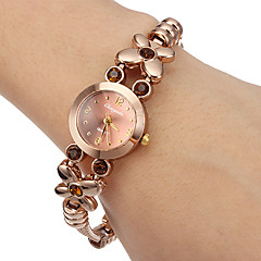 Women's Little Round Dial Diamante Flower Alloy Band Quartz Analog Wrist Watch Cool Watches Unique Watches