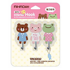 Cartoon Adhesive Hook Magic Seamless Clothes Hook 3 PCS
