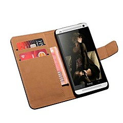 Book Style Genuine Leather Stand Wallet Case for HTC One M7