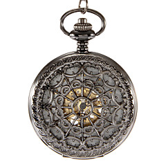 Unisex Mechanical Hollow Black Case Analog Skeleton Pocket Watch