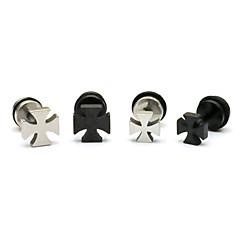Oorknopjes Eenvoudige Stijl Kleurgradatie Roestvast staal Titanium Staal Kruisvorm 1 2 3 4 Sieraden Voor Feest Dagelijks Kerstcadeaus