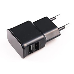 Universale Dual USB Power Adapter EU Plug AC per iPhone / iPad / iPod (100 ~ 240V)