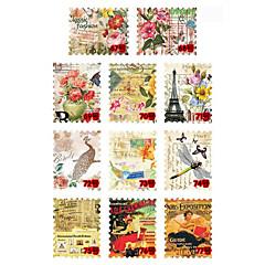 11PCS Mixed Pattern Stamp Stickers No.67-77(6x5x0.1cm)