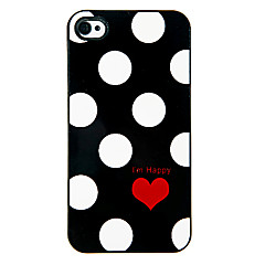 Points rondes et Hard Case alumineux Motif Coeur rouge pour iPhone 4/4S