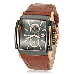 Men's Luxury Design Big Square Dial Calendar Leather Band Quartz Wrist Watch