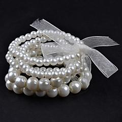 5Pcs Ribbon Tied Pearl Bracelet
