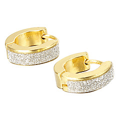 Gift For Boyfriend Fashion Glitter Gold Titanium Steel Stud Earrings (1 Pair)
