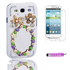 Beautiful Mirror Plastic Telefon Shell + HD Film + Mini Stylus 3 in1 til Samsung Galaxy S3 i9300