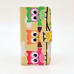 Πολύχρωμο Owl Σχεδιασμός Πλήρης υπόθεση σώματος με τη στάση και υποδοχή κάρτας και κατόχου χρήματα για το iPhone 5/5S