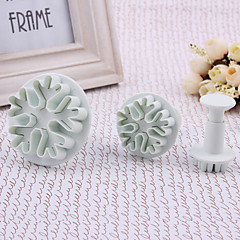 Snowflower Pattern Cake and Cookies Cutter Mold (3 PCS)