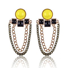 (1 Pair)European (Yellow Gemstone Earrings Double Chain) Golden Alloy Drop Earrings(Yellow)