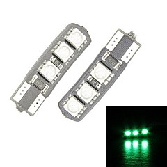 Merdia T10 6-SMD 5050 LED Green Light Canbus Decoded Auton Rekisterikilpi Lamppu / lukulamppu (pari)
