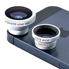 Magnetic 3 i 1 vidvinkelobjektiv / Macro lens/180 Fish eye-objektiv / Kit Set för iPhone 5/4 / iPad / Fax