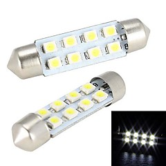 Merdia 4W 150lm Festoon 41MM 8x1210SMD LED White Light Auton Steering lamppu / lukulamppu - (2 KPL / 12V)