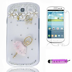 Pink Ballerina Plastic Phone Shell +HD Film + Mini Stylus 3 in1 for Samsung Galaxy S3 i9300