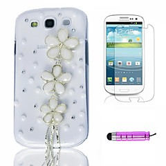 White Pearl blommor Plast Telefon Shell + HD Film + Mini Stylus 3 in1 för Samsung Galaxy S3 i9300