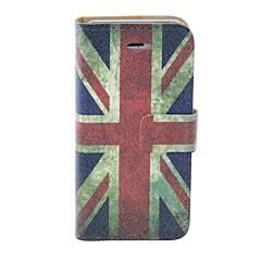 Bandeira britânica Kinston Padrão PU Leather Case Full Body com suporte para iPhone 5/5S