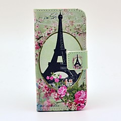 Eiffel Tower Rose Design Full Body Case with Stand and Card Slot and Money Holder for iPhone 5/5S