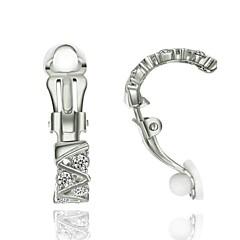레이디스 패션 쥬얼리 18K 화이트 골드 SWA 요소 모조 다이아몬드 도금 클립 - 온 귀걸이