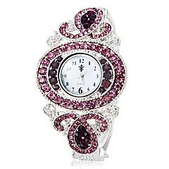 Women's Bohemia Style Purple Crystal Silver Alloy Quartz Bracelet Watch