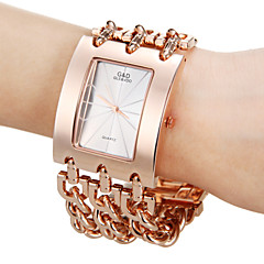 Hombres Rose Gold Square dial del análogo de cuarzo de la venda de la aleación del reloj de manera analógica