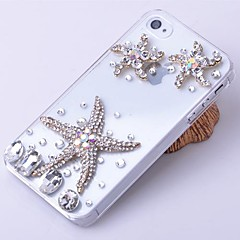 Metal Starfish Ornament Zircon Jewelry Covered Case for iPhone 4/4S