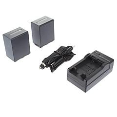 ismartdigi 소니 NP-FH100 (2PCS) 3900mah, SONY HDR-SR11E SR12E XR100E XR5을위한 7.2V 카메라 배터리 + 차량용 충전기
