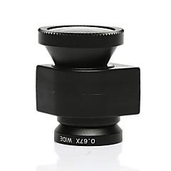 3 az 1-ben 0.67x nagylátószögű objektív fisheye180 mértékben objektív makró lencse készlet iPhone 5 / 5S-fekete