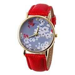 Women's Flower Pattern PU Band Quartz Wrist  Watch