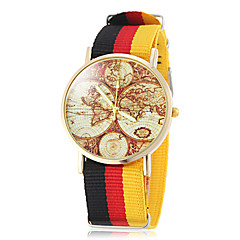 Unisex Earth Map Muster National Style Stoff-Band Quarz-Armbanduhr (verschiedene Farben)