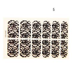 12PCS Hummingbird Shape Black Lace Nail Art Stickers NO.5
