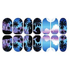 12PCS Romantic Blue Moonlight Luminous Nail Art Stickers