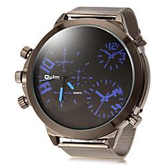 Heren Dual Time Zones Eenvoudige ronde wijzerplaat legering band Quartz analoog horloge (assorti kleur)