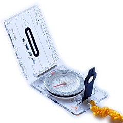 Camping Hiking Foldable Map Compass-Transparent+Black